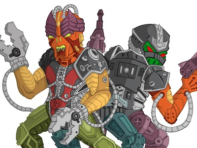 COMMISSION - Multi-bot commission illustration masters universe multi-bot he-man hordak