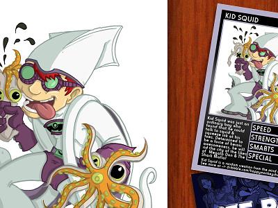 Kid Squid kid squid squeezing lad nich angell off panel trading card illustration chibi