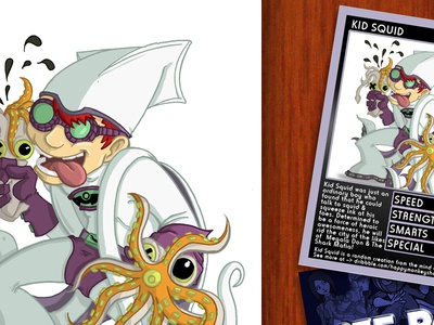 Kid Squid kid squid squeezing lad nich angell off panel trading card illustration chibi