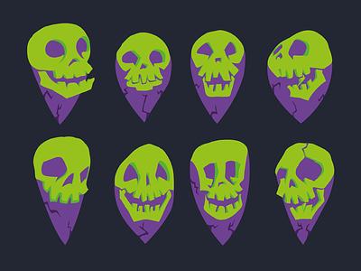 Skull Map Pins skulls map pin creepy illustration spooky