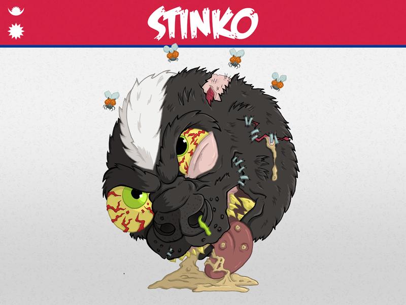 Stinko pus illustration gross flies snot puke nepal commission charity madballz skunk stinko