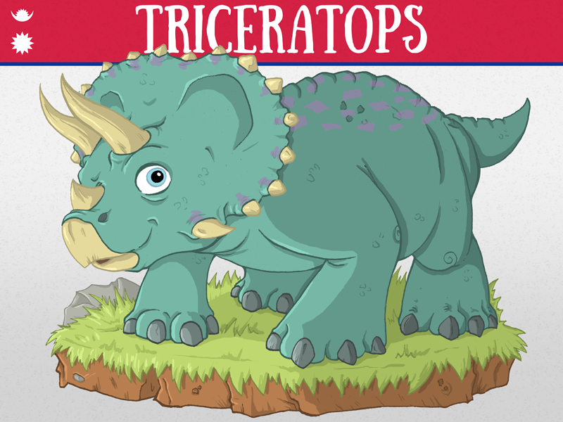 Triceratops illustration nepal commission charity dinosaur triceratops