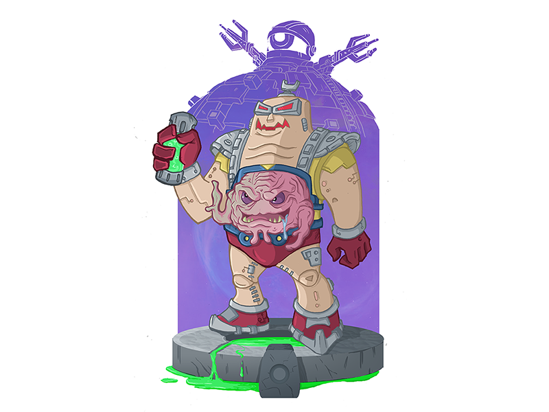 Krang the Conqueror tmnt teenage mutant ninja turtles digital chibi illustration technodrome android krang cosmic