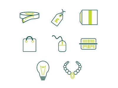 Retail Icon set price tag tape measure accessories ideas barcode mouse basket checkout stock design icon retail
