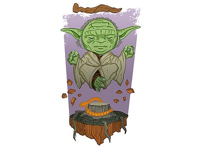 Yoda star wars float meditate old force jedi illustration chibi swamp alien yoda