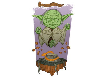 Yoda star wars float meditate old force jedi illustration chibi swamp alien yoda