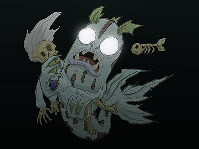 Deep sea mermaid sea ocean illustration monster creepy deep sea mermaid