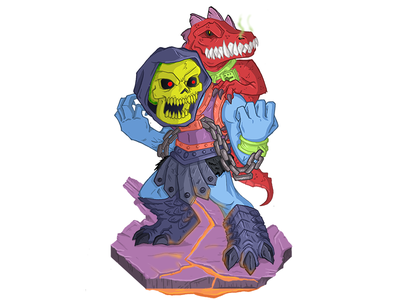 Dragon Blaster Skeletor masters of the universe chibi illustration dragon blaster skeletor