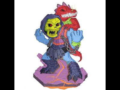 Dragon Blaster Skeletor masters of the universe chibi illustration dragon blaster skeletor