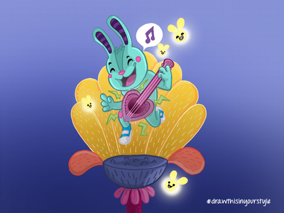 Rabbit with a Ukelele illustration drawinyourownstyle fireflies firefly flowers ukelele rabbit