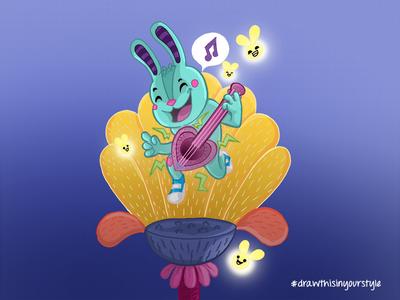 Rabbit with a Ukelele illustration drawinyourownstyle fireflies firefly flowers ukelele rabbit