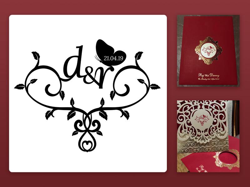 Wedding logo - Danny & Raj vines love butterfly floral wedding logo