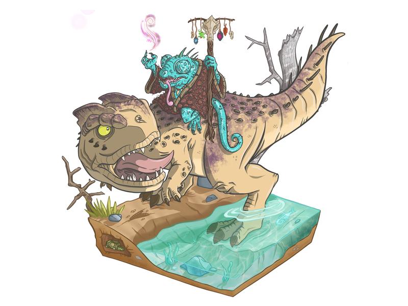 Lizard Wizard ipadpro procreate sorcery sorcerer magic dinosaur theropod fantasy wizard lizard dragons dungeon dungeons and dragons mutant chibi illustration