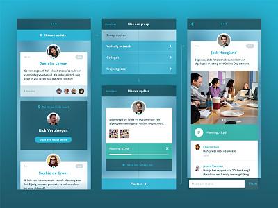 Timeline app timeline flat transparent user interface social mobile ios