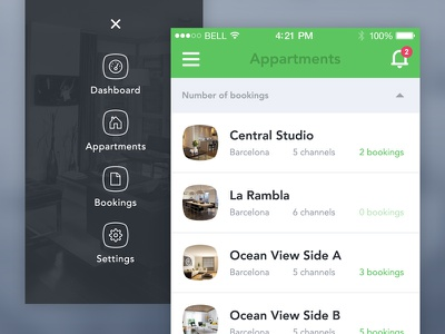 Booking App - Menu / Listing booking app menu list flat ui ios7 iphone appartment manage property