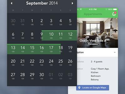 Booking App - Property / Calendar flat app ui iphone ios7 booking manage property calendar date availability
