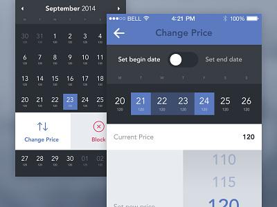 Booking App - Change Price booking app calendar set date flat ui ios7 iphone
