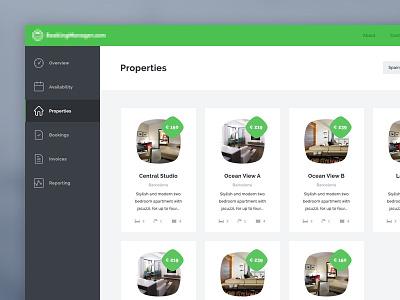 Booking App - Desktop version booking app desktop version flat ui dashboard properties
