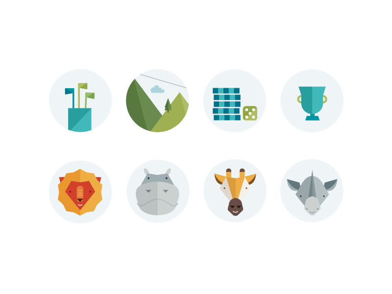 Activities Illustrations illustration icons flat golf clubs poker dice trophy lion hippo giraffe rhino yellow