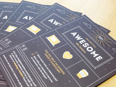 Industry Conf Leaflet print leaflet illustration typography outline icons sunshine clouds yellow black