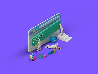 Ui Ux Design Team creating website isometric 3D ux design ui  ux uiux uidesign ui design ux ui concept vector illustration flat web page agency app 3d character 3d art 3d illustration conceptual 3d animation