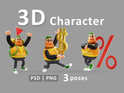 Man - 3D Render Fat Man Concept Illustration illustrations psd png poses man 3d render 3d concept vector illustration flat web page agency app 3d character 3d art 3d illustration conceptual 3d animation