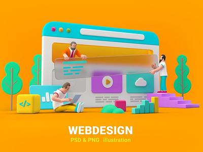 Webdesign Website UI UX Design 3D illustration 3d ui  ux uiux uidesign ui design ui concept vector illustration flat web page agency app 3d character 3d art 3d illustration conceptual 3d animation