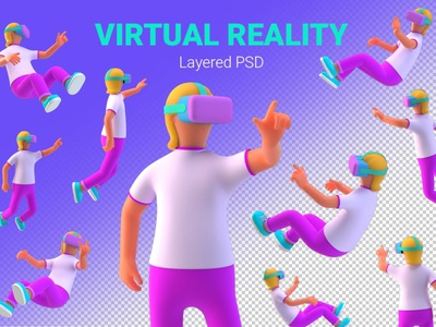 VR Girl in Virtual Reality PSD 3D illustration landing page interface creative banner vr design virtual reality vr concept vector illustration flat web page agency app 3d character 3d art 3d illustration conceptual 3d animation