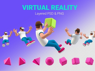 Virtual Reality 3D illustration Man in VR glasses vector illustration man virtual reality virtualreality virtual vray concept vector illustration flat web page agency app 3d character 3d art 3d illustration conceptual 3d animation