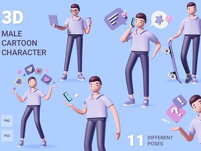 3d male character set illustrations design ui character set 3d male male character male concept vector illustration flat web page agency app 3d character 3d art 3d illustration conceptual 3d animation