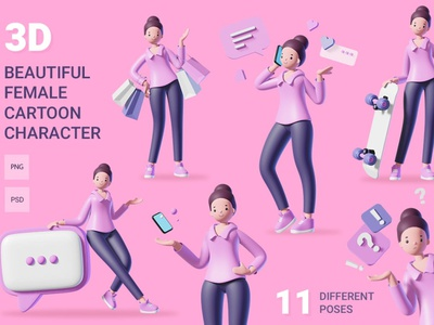 3D Female Character Set ux ui character set female illustrator female character 3d female female concept vector illustration flat web page agency app 3d character 3d art 3d illustration conceptual 3d animation