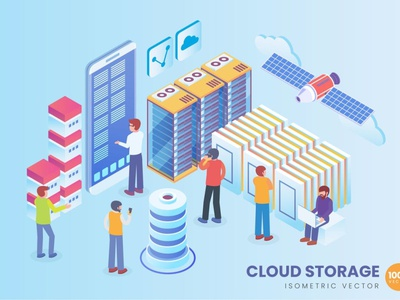 Isometric Cloud Storage Technology Vector Concept banners banner landing pages landing page isometric branding motion graphics graphic design 3d animation ui logo design 3d art 3d animation illustration 3d illustration 3d character app page