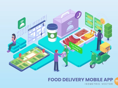 Isometric Food Delivery Mobile App Concept isometric banners concept development landing page branding motion graphics graphic design 3d animation ui logo design 3d art 3d animation illustration 3d illustration 3d character app page