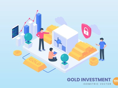 Gold Investment Concept Illustration landing page banners banner isometric concept branding motion graphics graphic design 3d animation ui logo design 3d art 3d animation illustration 3d illustration 3d character app page