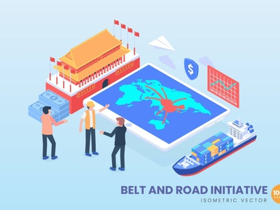 Belt And Road Initiative Economic Strategic banners pages landing page isometric concept branding motion graphics graphic design 3d animation ui logo design 3d art 3d animation illustration 3d illustration 3d character app page