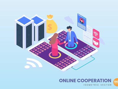 Isometric Online Cooperation Concept app 3d character 3d art 3d illustration illustration concept conceptual 3d animation 3d web banner website banners banner strategy process landing page landing technology isometric design isometric
