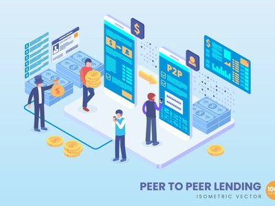 Isometric Peer to Peer Lending Concept flat web app 3d character 3d art 3d illustration coneptual 3d animation 3d web banner website banner banners banner strategy process landing page landing technogoly isometric design isometric