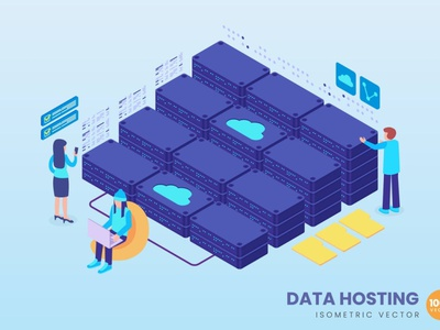 Isometric Data Hosting Concept illustration flat web 3d character 3d art 3d illustration concept 3d animation 3d web banner website banners banner strategy process landing page landing technology isometric design isometric