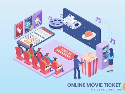 Isometric Online Movie Ticket Concept app illustration page web 3d character 3d art 3d illustration conceptual 3d animation 3d web banner website banners banner strategy process landing page technology isometric design isometric
