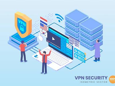 Isometric VPN Security Concept web design website process landing page business technology concept vector illustration flat web page agency app 3d character 3d illustration conceptual 3d art 3d animation 3d