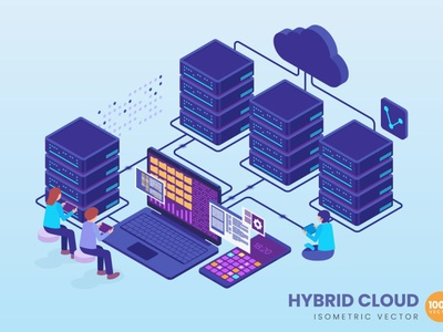 Isometric Hybrid Cloud Concept web development web design website landing page business technology vector illustration flat web page agency app 3d character 3d illustration conceptual concept 3d animation 3d art 3d