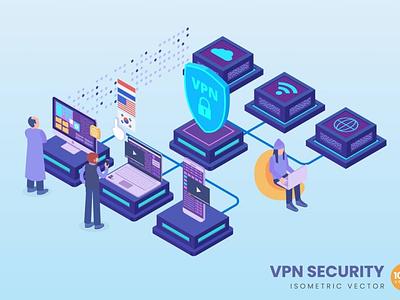 Isometric VPN Security Concept website landing page process landing business technology vector illustration flat web page agency app 3d character 3d illustration concept conceptual 3d animation 3d art 3d