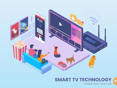 Isometric Smart TV Technology Concept web design website process landing page landing business technology concept vector illustration flat web page app character 3d art 3d illustration conceptual 3d animation 3d