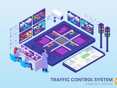 Isometric Traffic Control System Concept development website process landing business technology vector illustration flat web page agency app 3d character 3d art 3d illustration concept conceptual 3d animation 3d