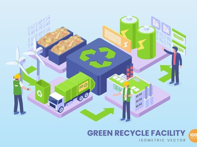 Isometric Green Recycle Facility Concept development website landing page process landing business technology vector illustration flat web page agency app 3d character 3d art 3d illustration conceptual 3d animation 3d