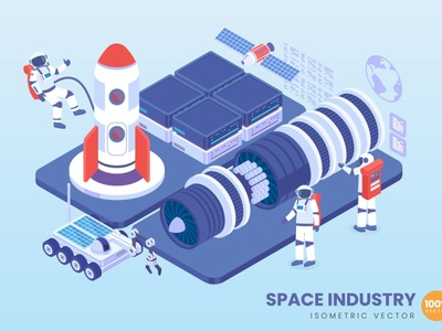 Isometric Space Industry Concept illustrations development website landing page business concept vector illustration flat web page agency app character 3d illustration 3d art 3d concept conceptual 3d animation 3d