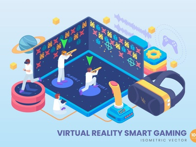 Isometric Virtual Reality Smart Gaming Concept website landing page process landing business technology concept vector illustration flat web page agency app 3d character 3d illustration 3d art conceptual 3d animation 3d