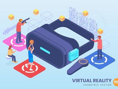 Isometric Virtual Reality Concept development website landing page process landing technology concept vector illustration flat web page agency app 3d character 3d art 3d illustration conceptual 3d animation 3d