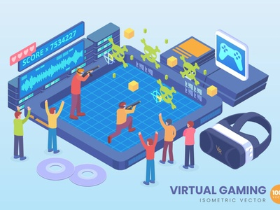 Isometric Virtual Gaming Technology Vector Concept website landing page process landing business technology concept vector illustration flat web page agency app 3d character 3d art 3d illustration conceptual 3d animation 3d
