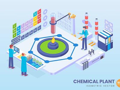 Isometric Chemical Plant Concept illustration development landing page landing business technology concept vector illustrations flat web page agency app 3d character 3d art 3d illustration conceptual 3d animation 3d